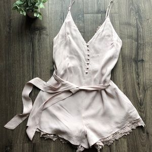 Soft Pink Lush S Romper with Lace 066